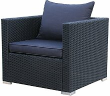 Rattan Lounge Sessel Pepe Schwarz Sofa Loungesessel Relaxsessel Schlafsessel