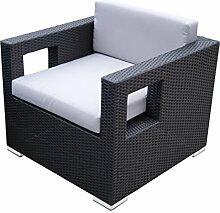 Rattan Lounge Set - Polyrattan Gartenmöbel Garnitur Sofa – kantiges Design – breite Armlehne - schwarz - 10 cm Kissenauflage - rostfreies Aluminiumgestell - Sitzgruppe - hervorragende Verarbeitung – top Qualität - preisgünstig (Sessel, schwarz)