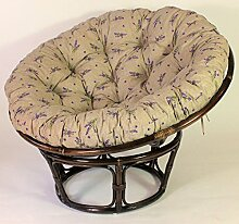 Rattan Papasan Sessel inkl. hochwertigen Polster , D 110 cm , Fb. darkbrown , Polster Lavendel