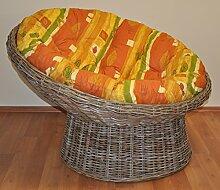 Rattan Papasan Sessel inkl. hochwertigen Polster , Koobo gray , D 110 cm , dicht geflochten !