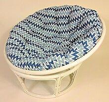 Rattan Papasansessel , Papasan Sessel inkl. hochwertigen Polster , D 110 cm , Fb. weiß lackiert , Polster Loneta blau