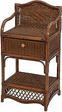 Rattan-Regal Kolonial Style mit einer Schublade in der Farbe Braun, Kleines Badregal / Küchenregal aus Natur-Rattan