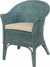 Rattan-Sessel Natur in der Farbe Blau Korb-Sessel