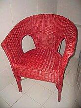 Rattan-Sessel Rot Esszimmersessel Korb-Sessel