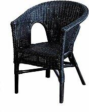 Rattan-Sessel Schwarz Esszimmersessel Korb-Sessel