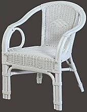 Rattan-Sessel Weiß Esszimmersessel Korb-Sessel