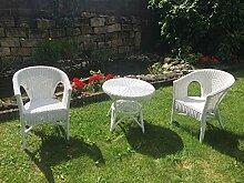 Rattan Set 2 Sessel NEU in der Farbe weiß + Tisch 65 cm