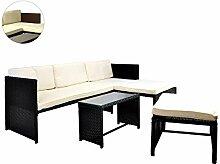Rattan Sitzecke mit Tisch Poly Rattan Garnitur Sitzgruppe Gartenmöbel Terrasse schwarz
