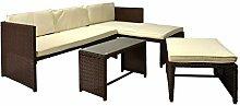 Rattan Sitzecke mit Tisch Poly Rattan Garnitur Sitzgruppe Gartenmöbel Terrasse braun