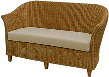Rattan-Sofa 2-Sitzer CLUB in der Farbe Honig inkl.