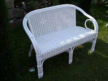 Rattan Sofa Bank (Sessel) weiß