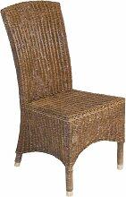 Rattan-Stuhl Esszimmer-Stuhl mit Messingfußkappen