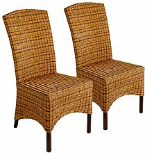 Rattan-Stuhl-Set 2 Stück Esszimmer-Stuhl-Set,
