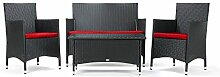 Rattan4Life 4-teilig Avignon Deluxe Polyrattan Gartenmöbel Set, Sofa / Lounge / Gartengarnitur / Kissenbezug, schwarz / ro