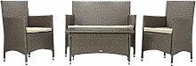 Rattan4Life Sitzgruppe Avignon, 4-teilig Deluxe Polyrattan Gartenmöbel Set, Sofa / Lounge / Gartengarnitur / Kissenbezüge, Rattan grau / braun, Bezug beige