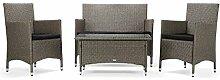 Rattan4Life Sitzgruppe Avignon, 4-teilig Deluxe Polyrattan Gartenmöbel Set, Sofa / Lounge / Gartengarnitur / Kissenbezüge, Rattan grau / braun, Bezug schwarz