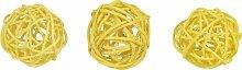 Rattanbälle MIX, 6 Stück, gelb