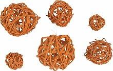 Rattanbälle MIX, 6 Stück, orange