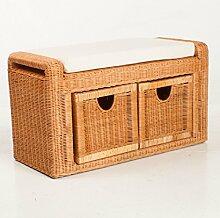 Rattanbank Rattanbox mit Sitzkissen | Sitzbank Bank Rattan Honig 2x Schublade