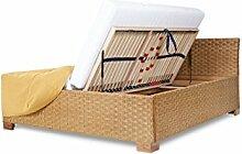 Rattanbett mit Bettkasten und Lattenrosten mit seitlichem Springaufbeschlag, Größe 140x200cm, Farbe Honig