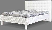 Rattanbett mit Polsterrücken 11004 in 140cm Breite, Rahmen in Farbe weiß, Rücken gepolstert mit Kunstleder weiß