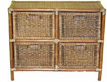 Rattanregal 4 Schübe , Gr. 90 x 35 cm H 72 cm , Fb. darkbrown
