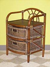 Rattanregal mit 2 Schüben , Korbregal mit Schub , Korbfarbe : darkbrown , Größe : B 46 cm , T 40 cm , H 70 cm .