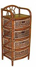 Rattanregal mit 4 Schüben , Korbregal mit Schub , Korbfarbe : darkbrown , Größe : B 46 cm , T 40 cm , H 108 cm .