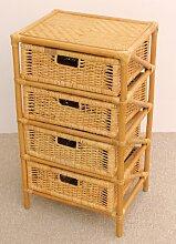 Rattanregal mit 4 Schüben , Korbregal mit Schub , Korbfarbe : honig , Größe : B 46 cm , T 36 cm , H 80 cm .