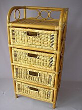 Rattanregal mit 4 Schüben , Korbregal mit Schub , Korbfarbe : honig , Größe : B 45 cm , T 36 cm , H 95 cm .