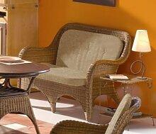 Rattansofa, 2- Sitzer Natura, cabana mit Sitz- u. Rückenkissen