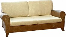Rattansofa Couch Sofa 3-Sitzer Roma inkl. Sitz- und Rückenkissen Farbe muska