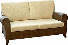 Rattansofa Sofa Couch 2,5-Sitzer Roma Farbe coco