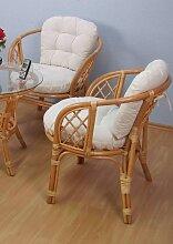 Rattanstuhl 2 Stück gelb Rattan-Sessel Sessel