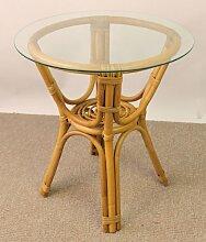 Rattantisch , Rattan Tisch inkl. Glasplatte , Gr.