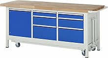 RAU Werkbank mit absenkbarem Fahrgestell Serie 8000, 1 Stück, lichtgrau/ enzianblau, 05 8570A2-207B4F.11