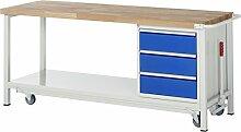 RAU Werkbank mit absenkbarem Fahrgestell Serie 8000, 1 Stück, lichtgrau/ enzianblau, 05 8157A6-207B4F.11