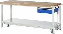 RAU Werkbank mit absenkbarem Fahrgestell Serie 8000, 1 Stück, lichtgrau/ enzianblau, 05 8001A6-207B4F.11