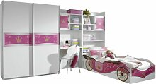 Rauch A9830.0B73.90 Jugendzimmer Kate 4-teilig , 341 x 197 x 238 cm alpinweiß, Absetzungen rosafarben