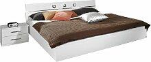 Rauch Bett 180x200 mit 2 Nachttischen Weiß Alpin,