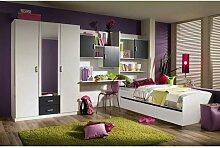 Rauch Pack´s Flow Jugendzimmer 5-teilig inkl. Drehtürenschrank Spiegel Schreibtisch Bettkastenschrank und Bett Korpus Front Alpinweiß Absetzung grau-metallic oder brombeer