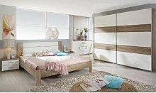 Rauch Packs GRANADA kompl. Schlafzimmer Futonbett Nachttische Kommode Schwebetürenschrank mit DD und Hochglanzfarbe wählbar