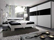 Rauch Packs Relation Plus Quadra Schlafzimmer 3tlg aus Bett Kleiderschrank Nachttisch Absetzung Glas und Dekor wählbar