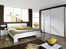 Rauch Packs Relation Plus Quadra Schlafzimmer bestehend aus Bett Kleiderschrank Dekor Alpinweiß Absetzung Glas weiß Nachttisch wählbar