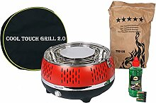 Rauchfreier Holzkohle-Tischgrill Blau Cool Touch 2.0 Holzkohlegrill BBQ Barbeque Grill