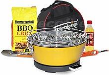 Rauchfreier Holzkohle Tischgrill VESUVIO v. Feuerdesign - Gelb, im Super Pack mit viel Grill-Zubehör