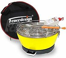 Rauchfreier Holzkohle Tischgrill VESUVIO v. Feuerdesign - Gelb, im Spar Pack mit Grill-Zubehör