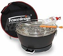 Rauchfreier Holzkohle Tischgrill VESUVIO v. Feuerdesign - Grau, im Spar Pack mit Grill-Zubehör