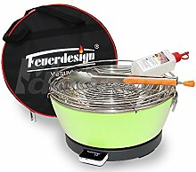 Rauchfreier Holzkohle Tischgrill VESUVIO v. Feuerdesign - Grün, im Spar Pack mit Grill-Zubehör