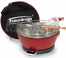 Rauchfreier Holzkohle Tischgrill VESUVIO v. Feuerdesign - Rot, im Spar Pack mit Grill-Zubehör